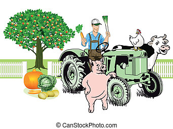 Farmer on Tractor with his animals
