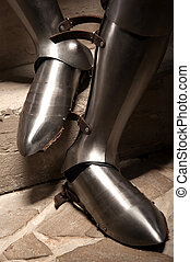 Medieval armor shoes - Closeup portrait of medieval knight...