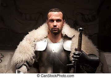 Medieval warrior in armor and fur mantle - Waistup portrait...