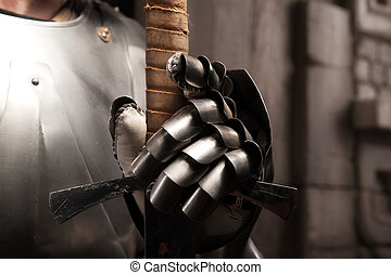 Closeup portrait of medieval armor - Closeup portrait of...