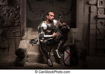 medieval, caballero, Sentado, pasos, antiguo, templo