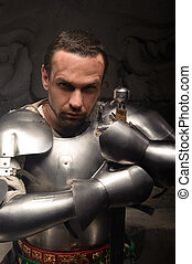 Emotional portrait of medieval Knight - Closeup portrait of...