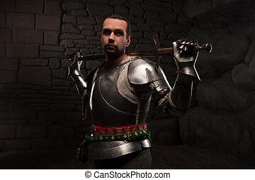 medieval, caballero, Posar, espada, Oscuridad, piedra, Plano...