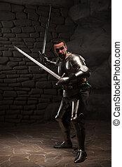 piedra, B, medieval, pared, caballero, espadas, dos,...