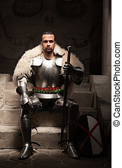 Medieval warrior in armor and fur mantle - Full length...