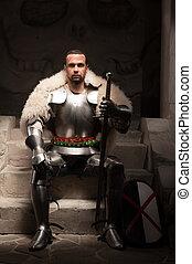 medieval, guerrero, armadura, piel, manto
