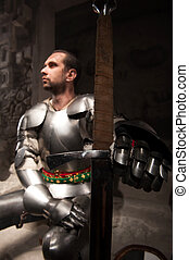 Portrait of knight - Closeup portrait of medieval knight in...