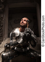 Emotional portrait of medieval Knight - Waistup portrait of...