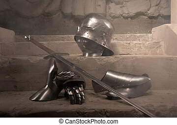 Medieval armor closeup portrait - Closeup portrait of...
