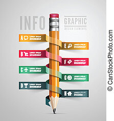 Creative Template with pencil ribbon