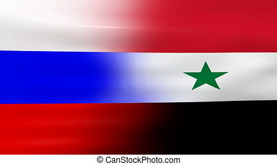 Waving Russia and Syria Flag, ready for seamless loop.
