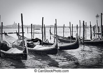 Gondola - Parked gondolas in Venice, Italy