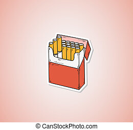 pack of cigarettes - sketch of the cigarettes pack on red...