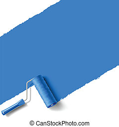 roller brush blue - roller brush with blue paint wall