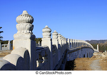 ancient Chinese traditional style of white marble stone bridge r