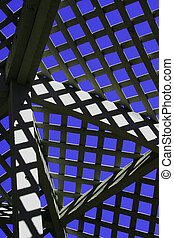 Abstract lattice in garden pergola