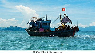 Wooden Fishing boat at sea in Nha Trang, Vietnam