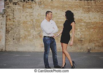 Heterosexual Couple - romantic couple in the city