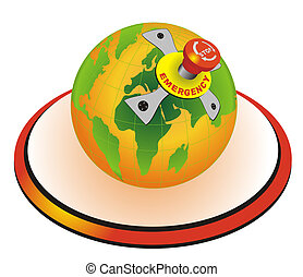 World Globe With Emergency Stop Button - Vector illustration...