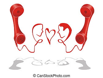 Telephone love line - Man and woman face grown from...