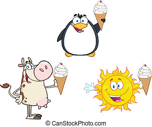 Different Holding A Ice Cream