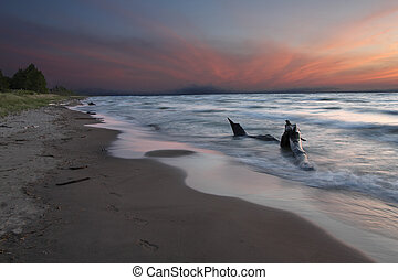 Lake Huron Beach at Twilight - Pinery Provincial Park,...