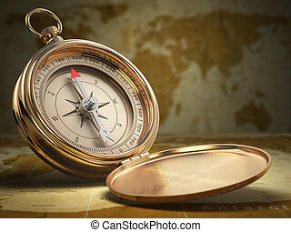 Compass on world map background. Navigation. 3d