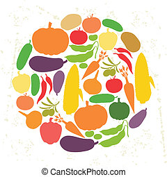 Background design with fresh ripe stylized vegetables