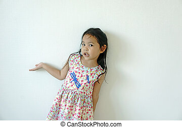 Little girl smiling on white background