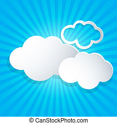 Background with white clouds - Blue vector background with...