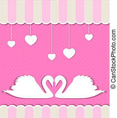 Pink background with swans - Pink background with two white...