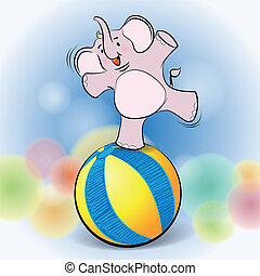 cute elephant play on Ball - Illustration of cute elephant...