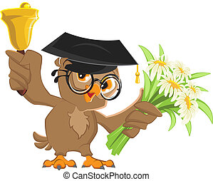 Owl teacher rings the bell and holding flowers Vector...