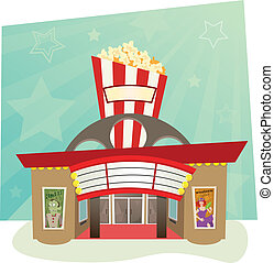 Movie Theater - stylized movie theater with stars in the...