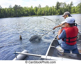 Boys fishing in a canoe catch a walleye - Smartphone photo...