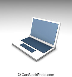 Blue White Netbook Computer Laptop in 3d
