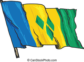 flag of Saint Vincent and Grenadines - hand drawn, sketch,...