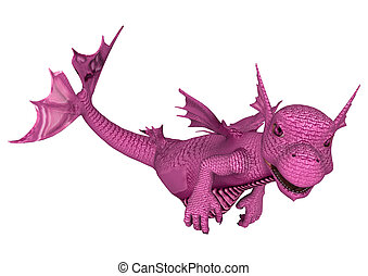 Little Pink Sea Dragon - 3D digital render of a cute little...