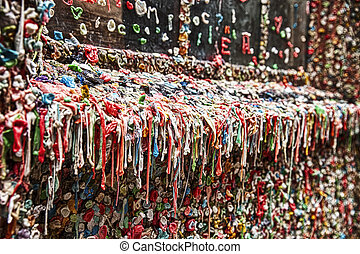 Dirty Gum Wall - The landmark bubble gum wall near the Pike...