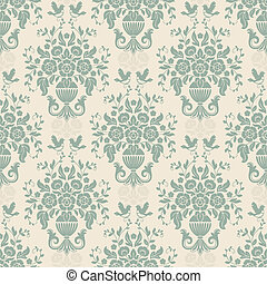 Blue baroque bright pattern