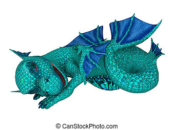 Sleeping Little Sea Dragon - 3D digital render of a cute...