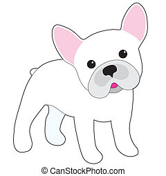 French Bulldog - A cartoon illustration of a little white...