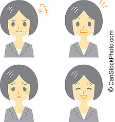 young woman in suit, expressions, vector file