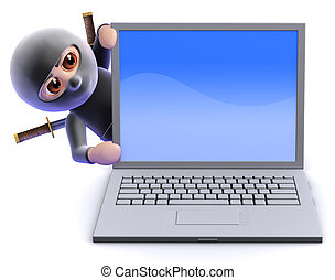3d Ninja assassin behind laptop pc - 3d render of a ninja...