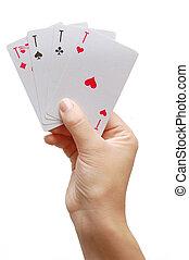 Playeriuml;iquest;frac12;s hand revealing Four Aces -...