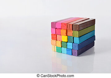 Multicolored artists pastels - The cube from multicolored...