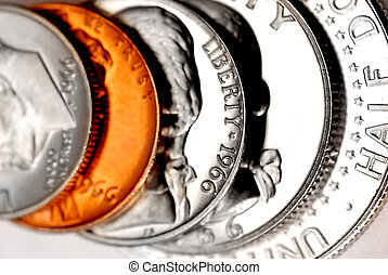 Stack of US Coins - Close up of dime, penny, nickel, quarter...