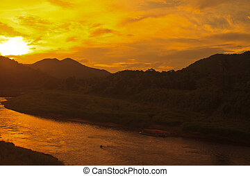 sunset on river