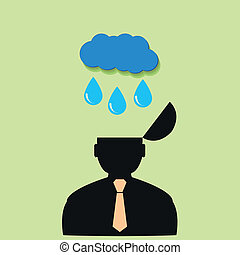 Flat vector icon man and rain clouds.