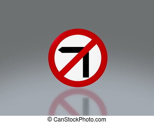 road sign no turn left 4K - the notice of traffic sign for...
